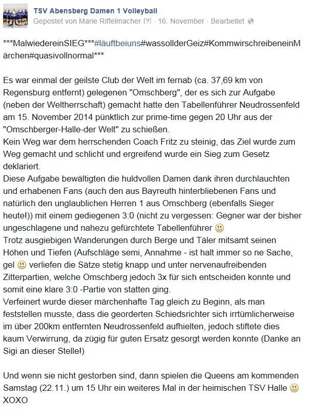 Facebook-Post, 16.11.14