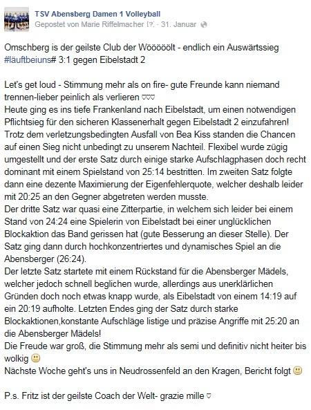 Facebook-Post vom 31.01.15